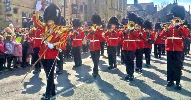 The Band of the Grenadier Guards parading in Uppermill
