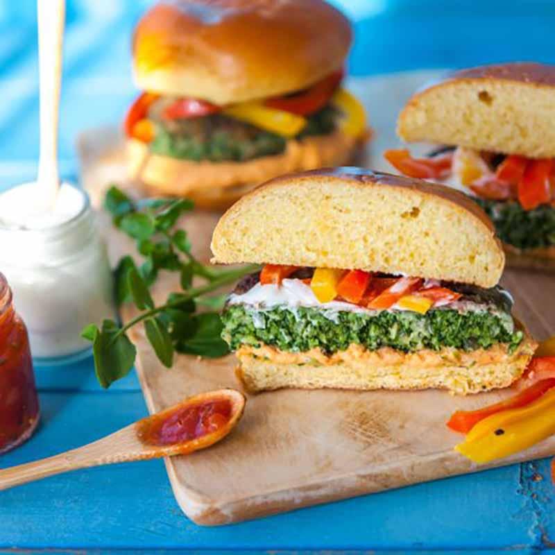 spinach-watercress-veggie-burgers